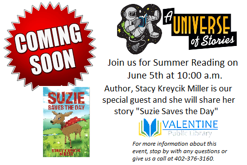 Summer Reading Program with author, Stacy Kreycik Miller on June 5th