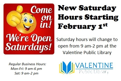 New Saturday Hours Start on February 1st