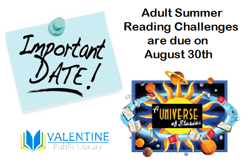 Adult Summer Reading Challenges due on August 30!