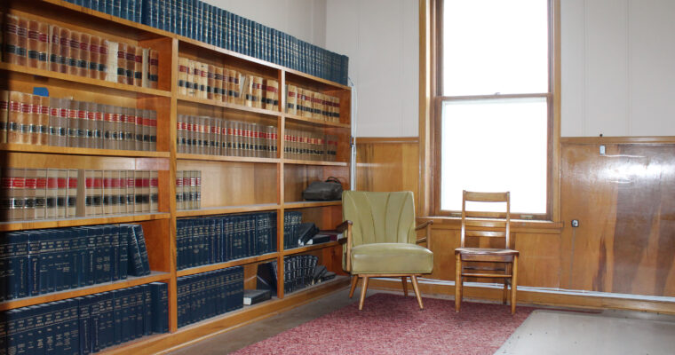 The original home of the Valentine Public Library in 1921 was in a room in the original Cherry County Courthouse